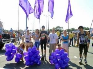 Флагомахи-роллеры на праздничном мероприятии